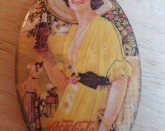 Vintage 1920 Coca Cola Pocket Advertising Mirror