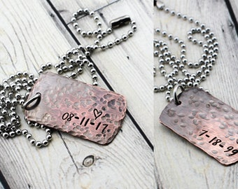 Men's Personalized Double Sided Dog Tag Necklace - Rustic Dog Tag Jewelry for Men - Hand Stamped Personalized Necklace for Men