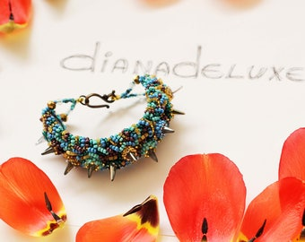 Spike bracelet embroidered / Glam Rock Jewelry / Alternative jewelry bracelet / Turquoise cuff bracelet / Rocker Jewelry Punk Bracelet