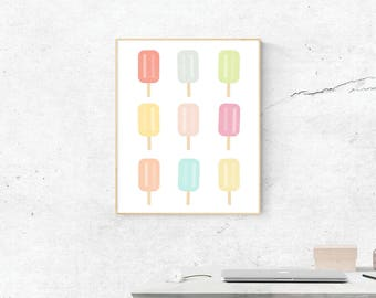 Popsicles, Digital Print, Popsicles Art, Popsicle Art, Digital Download, Popsicle Wall Art, Wall Prints, Printable Art, Popsicle Poster