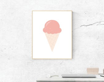 Pink Ice Cream, Digital Print, Pink Ice Cream Art, Love Art, Digital Download, Pink Ice Cream Wall Art, Wall Prints, Printable Art