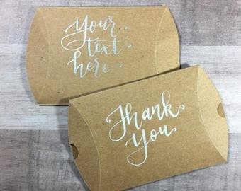Custom Calligraphy Favor Boxes | Kraft Pillow Boxes | Custom Kraft Packing