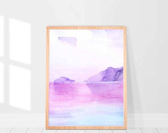 Pink Blue Abstract Art, Blue Pink Watercolor Print, Watercolor Printable Art, Abstract Watercolor Print, Pink blue Print, Modern Wall Art
