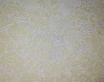 "16 3/4"" Wide Off White Floral Lace by yard"