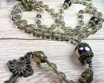 Smokey Quartz Antique Bronze Rosary
