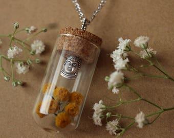 Buddha Head Jar Necklace, Dried Flower Buddha Jar Pendant