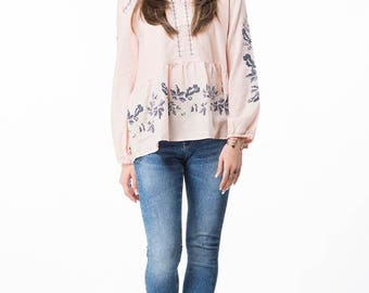 Embroidery Tunic- Ethnic Fusion Tunic- Large, Pale Pink