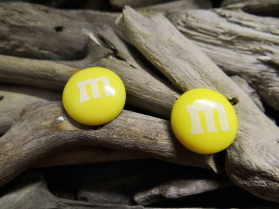 Yellow Peanut M&M Inspired Stud Earrings Studs Chocolate Candy Buttons M and M's Smarties Food Kitsch Ear Ring Rings Earring Kawaii