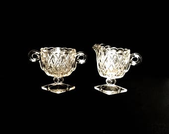 Vintage Pressed Glass Sugar and Creamer        GC2707