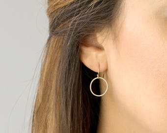 Open Circle Earrings, Dainty Everyday Earring, Minimal Earring, Hoop Earrings, 14k Gold Fill, Sterling Silver, by LEILAJewelryshop, E203