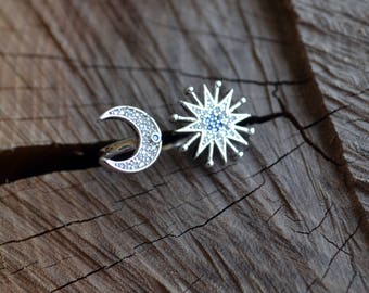 Moon Star Open ring, sterling silver ring, sterling moon ring, moon ring, star ring, open ring, adjustable (R241)