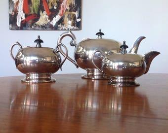 Art Deco silver plate tea set - tea service - teapot - creamer - pitcher - sugarbowl