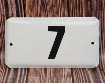 Vintage door number sign 7 Enamel House Number Old Door Plate Address room number Street Sign Apartment address Metal door signs
