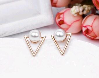 Triangle stud earrings, triangle pearl earrings, Geometric stud earrings, triangle ear climber, Silver triangle earrings