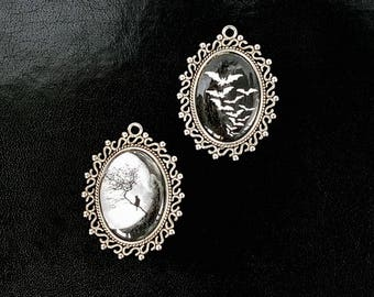 Cameo set bats and cat pendant