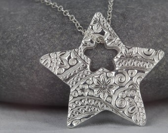 Star necklace silver charm ~ sterling silver star necklace ~ gift for her ~ lucky star ~ handmade gift for girlfriend ~ star jewellery