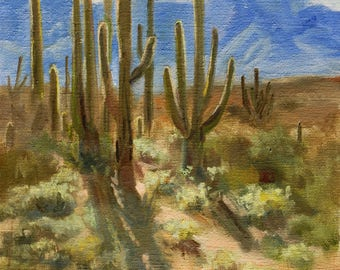 Landscape Painting, Original Painting, Oil Painting, Oil Paintings, Original Paintings, Small Painting, Arizona, Cactus, Canvas, Sue Whitney