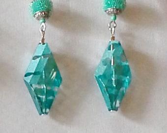 Turquoise blue diamond shaped earrings