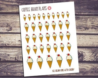 Cherry Ice Cream Cone with Sprinkles Planner Stickers
