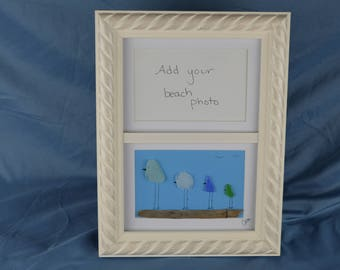 Seaglass bird family, 9in x 12in framed seaglass art, coastal beach house decor, mothers day gift, add your own beach photo