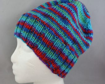 hats, multicolor hats, women's hats, woman's hat, hand knit hat, knit hats, stretchy hats, slouchy hats
