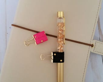 Modern Punk Planner Pen Holder / Binder Clip Pen Holder / Travelers Notebook Pen Holder / Happy Planner Pen Holder / Elastic Pen Loop