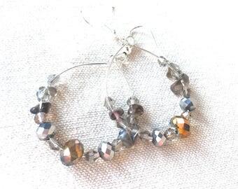 Crystal Hoop Earrings, delicate Czech glass neutral earrings handmade beaded earrings neutral gray earrings silver earrings modern dangle