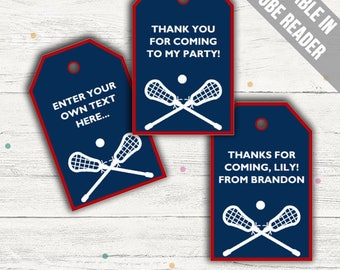 Lacrosse Party Favor Tags (Lacrosse Thank You Tags). Printable PDF (EDITABLE). Instant Download.