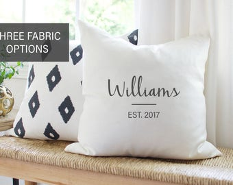 Personalized Wedding Gift for Couple | Family Name PILLOW COVER | Burlap Monogram Pillow | Personalized Pillows | Birthday Gift for Him Dad