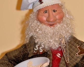 OOAK Sculpted Santa Claus, Vintage Sculpted Santa, OOAK Santa, Arty the Baker Santa, Santa Sculpture, Santa Claus Baker Sculpture