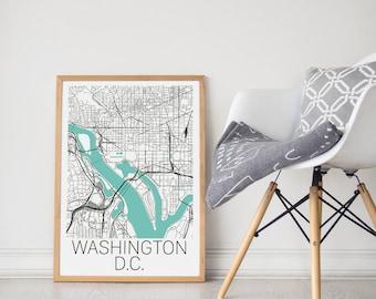 Washington D.C. Map / Washignton DC Map  / Washington D.C. Print / Washington Map /  Washington DC