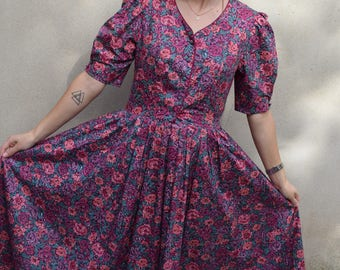 Vintage Laura Ashley floral print summer dress, UK size 12