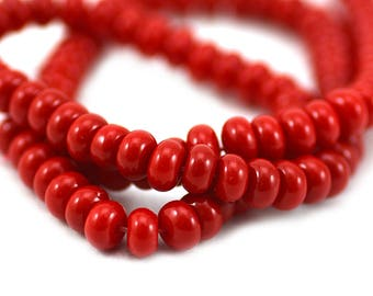 Bright Bold Cherry Red Smooth Rondelle Glass Spacer Filler Beads 6x3.5mm