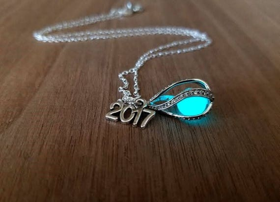 Graduation Gift 2018 Necklace, Glow in the Dark Tear Drop, Class of 2018, Mermaid Tear, Dragon Egg, Glowing Necklace, Birthday Year Necklace