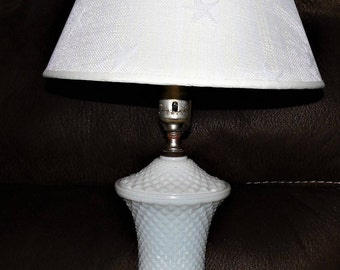 vintage milk glass english hobnail diamond point table lamp rare lighting milk