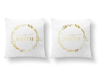 SET of 2 Pillows, Mr Mrs Smith Pillow, Mr and Mrs Pillow, Wedding Gift, Throw Pillow, Her Pillow, Him Pillow, Cushion Cover, Gold Pillow