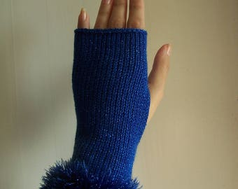 knit glamour glittery sparkly blue festive club fingerless gloves with sparkly faux fur trim