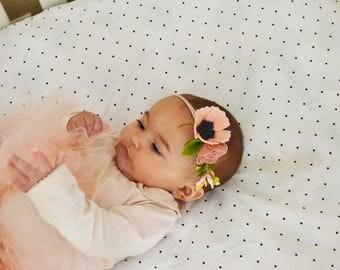 Newborn Flower Headband/ Newborn Flower Crown/ Infant Flower Crown/ Neutral Flower Headband/ Neutral Baby Crown/ Felt Flower Headband