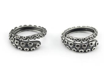 Octopus Tentacle Rings Gift Set made by Lord Cthulhu himself 925 Sterling Silver by Serebra Jewelry