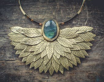 Statement necklace Bib necklace golden necklace labradorite jewelry gold necklace elegant necklace polymer clay necklace boho necklace