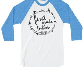 1st-4th Grade Teacher T-shirt | Tribal First Grade, Second Grade, Third Grade, Fourth Grade 3/4 Sleeve Raglan | Grade Level | Elementary