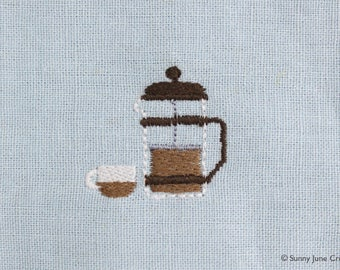 Machine embroidered pattern design coffee press - instant download