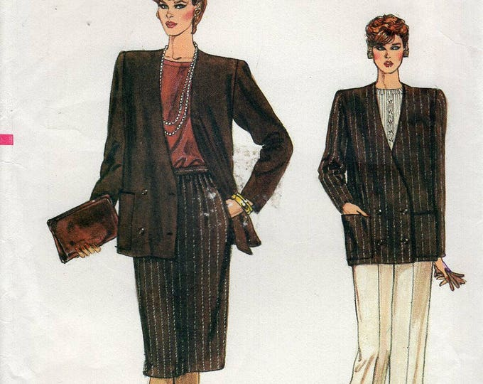 Free Us Ship Sewing Pattern Vogue 8782 Vintage Retro 1980s 80s Double Breasted Suit Jacket Skirt Pants Size 6 8 10 Bust 30.5 31.5 32.5 Uncut