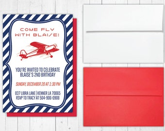 """Vintage Plane: """"Up, Up & Away!"""" - Birthday Invitation 