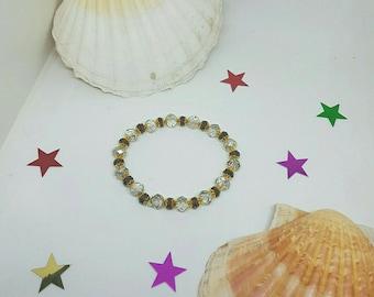 Grey and purple Crystal beaded bracelet