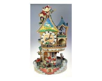 Enesco Enchanted Clocktower Motion Lights Sound Christmas Holiday Works w Box