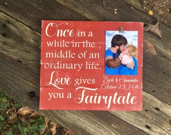 Wedding frame//Christmas gift//Once in a while in the middle of an ordinary life//wedding shower gift//anniversary gift