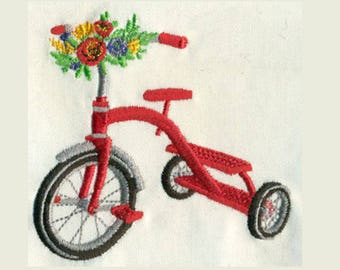 Tricycle with flowers Embroidery Design - Instant Digital Download