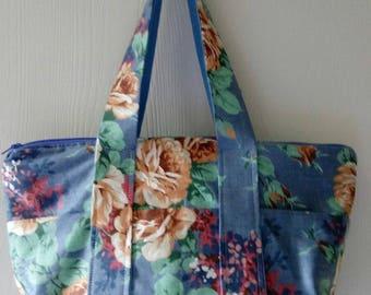 Ladies Purse Handbag Pocketbook Multi Pockets NEW Blue Rose Garden Print HB12