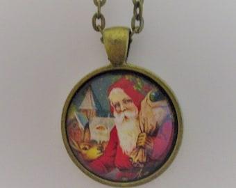 Father Christmas Pendant, Santa Claus Pendant, Santa Photo Pendant, Edwardian Santa Necklace, Christmas Jewelry, Christmas Photo Pendant